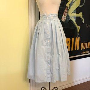 Vintage 80s high waisted prairie light blue skirt